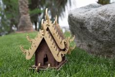Laser Cut Pagoda House Template Free CDR Vectors Art