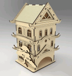 Laser Cut Pagoda Tea House Free CDR Vectors Art