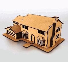 Laser Cut Wooden Simpsons House Model Free CDR Vectors Art