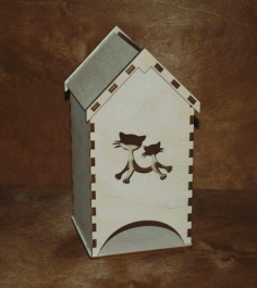 Laser Cut Wooden Tea House Tea Bag Dispenser Free CDR Vectors Art