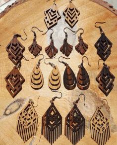 Laser Cut Wooden Jewelry Earrings Templates Free CDR Vectors Art