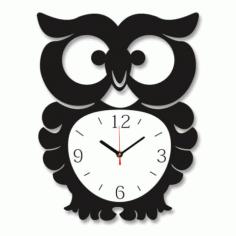Laser Cut Owl Wall Clock Free CDR Vectors Art