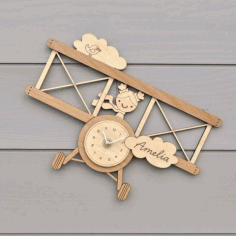 Laser Cut Wall Clock Template For Kids Room Free CDR Vectors Art