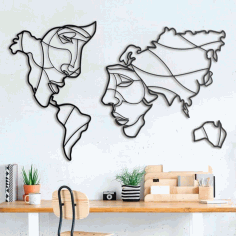 Faces Of The World Map Wall Art Free CDR Vectors Art