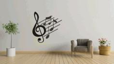 Laser Cut Music Notes Wall Art Free CDR Vectors Art