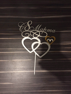 Laser Cut Double Heart Wedding Cake Topper Free CDR Vectors Art