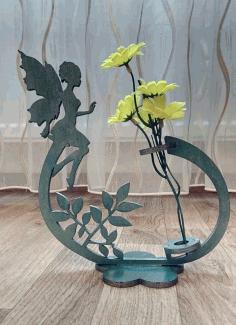 Laser Cut Fairy Flower Holder Flower Stand Free CDR Vectors Art