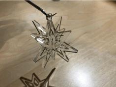 Laser Cut Two Part Snowflake Ornament Free AI File
