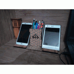 Laser Cut Cell Phone Stand Pencil Holder Organizer Free CDR Vectors Art
