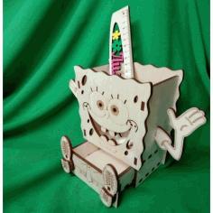 Laser Cut Spongebob Desk Organizer Pencil Holder Free CDR Vectors Art