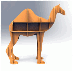 Laser Cut Camel Shelf Bookcase Display Storage Furniture Free CDR Vectors Art