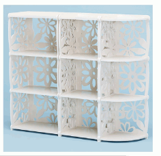Laser Cut Decorative Shelf Bookcase Free CDR Vectors Art