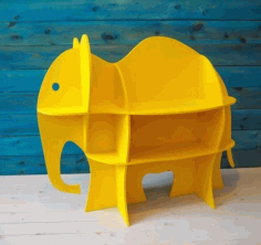 Laser Cut Elephant Shelf Book Shelf Furniture For Baby Nursery Kids Room Free CDR Vectors Art