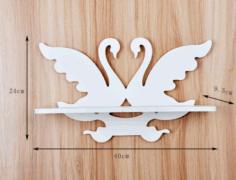 Laser Cut Swan Wall Mounted Shelf Free CDR Vectors Art