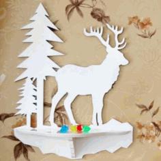 Laser Cut Wall Shelf Deer Free CDR Vectors Art