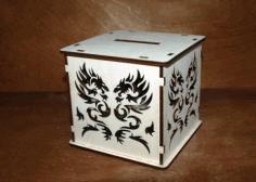 Laser Cut Dragon Piggy Bank Free CDR Vectors Art