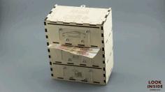 Laser Cut Money Bank Safe With Sliding Cover Free CDR Vectors Art
