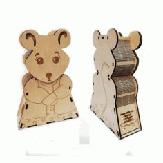 Laser Cut Piggy Bank Mouse shaped Free CDR Vectors Art