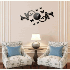 Laser Cut Fancy Butterfly Wall Clock Template Free CDR Vectors Art