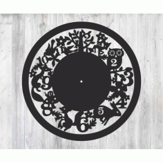 Laser Cut Wall Clock With Animals Free CDR Vectors Art