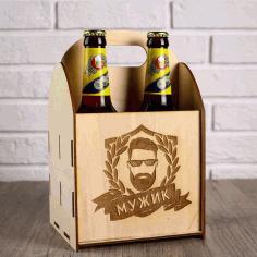Laser Cut 4 Beer Bottle Box Wooden Beer Caddy Carrier Free CDR Vectors Art