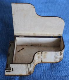 Laser Cut Piano Shaped Gift Box Plywood Free CDR Vectors Art