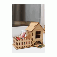 Laser Cut Tea House With Candy Box 3mm Free CDR Vectors Art