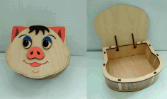 Plywood Pig Box With Lid Laser Cutter Project Free CDR Vectors Art