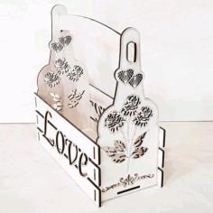 Laser Cut Valentine Day Decor Valentine Basket Floral Arrangement Free CDR Vectors Art