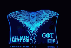 Laser Cut All Men Must Die Game Of Thrones Acrylic 3d Lamp Free AI File