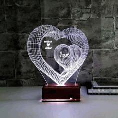 Laser Cut Two Hearts 3d Optical Illusion Lamp Led Night Light Free AI File