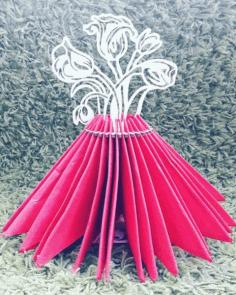 Laser Cut Flower Bouquet Napkin Holder Template Free CDR Vectors Art