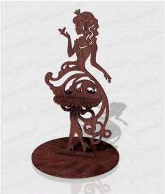 Laser Cut Napkin Holder Girl Princess With A Butterfly Free CDR Vectors Art