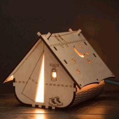 Laser Cut Decorative Tent Shaped Lamp 4mm Free CDR Vectors Art