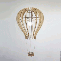 Laser Cut Hot Air Balloon Shape Lamp Free CDR Vectors Art