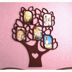 Laser Cut Family Tree With 5 Frames Free CDR Vectors Art