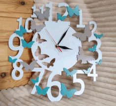 Butterfly Wall Clock Laser Cutting Templates Free CDR Vectors Art