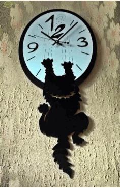 Laser Cut Cat Clock Free CDR Vectors Art