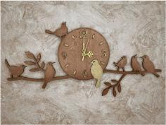 Laser Cut Clock Bird On A Branch Free CDR Vectors Art