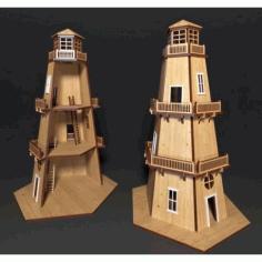 Laser Cut Lighthouse Template Free CDR Vectors Art