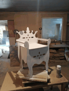 Laser Cut Kids Throne Chair Plywood 6mm Free CDR Vectors Art