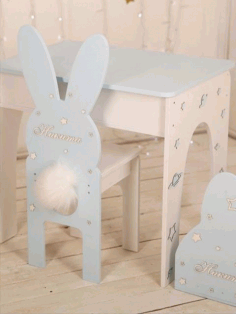 Laser Cut Rabbit Chair Bunny Chair Nursery Furniture For Kids Free CDR Vectors Art