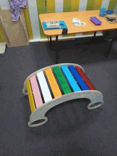 Laser Cut Rocking Chair Rainbow Slide Bridge For Kids Free CDR Vectors Art
