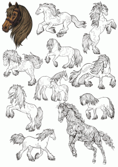 Horse Line Art Set Free CDR Vectors Art