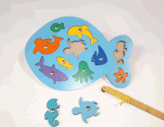 Laser Cut Wooden Fish Peg Puzzle Educational Toy Sea Creature Peg Puzzle Free CDR Vectors Art
