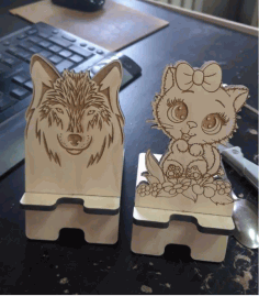 Laser Cut Phone Stand Kitten Free CDR Vectors Art
