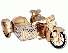 Laser Cut Motorcycle Wood Puzzle Free CDR Vectors Art