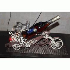 Laser Cut Motorcycle Wine Bottle Holder Wine Butler Free CDR Vectors Art
