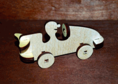 Laser Cut Wooden Race Car Toy Free CDR Vectors Art