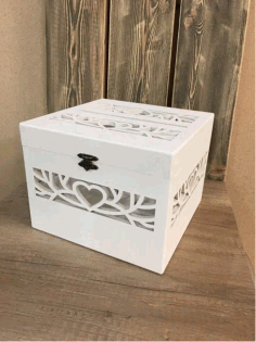 Laser Cut Decorative Wedding Card Box Free CDR Vectors Art
